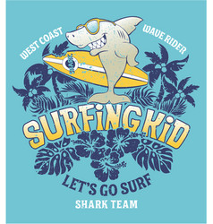 Shark surfing kid team vector
