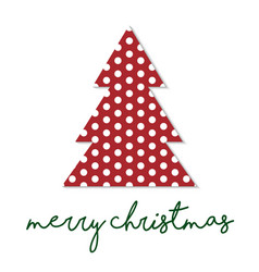 simple christmas tree with polka dot pattern vector image