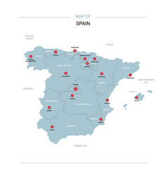 Spain map with red pin vector