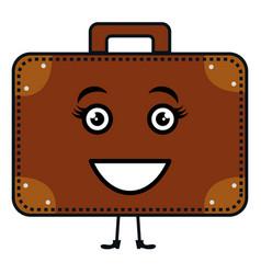 Suitcase travel kawaii character vector