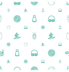 summer icons pattern seamless white background vector image