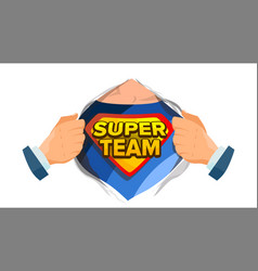 super team sign superhero open shirt with shield vector image