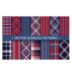 Tartan set pattern seamless plaid geometric vector