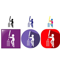 Three design sport icons for cricket vector image