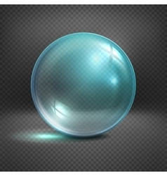 Transparent glass sphere isolated on checkered vector image