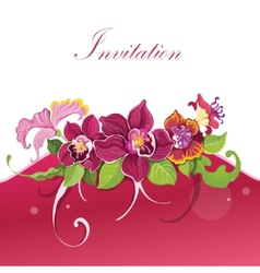 Tropical flower invitation vector