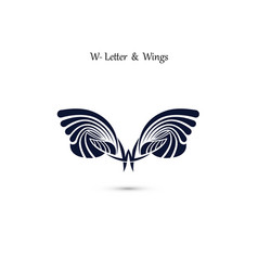 w letter sign and angel wings monogram wing logo vector image