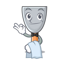 Waiter cartoon putty knife in plaster vector