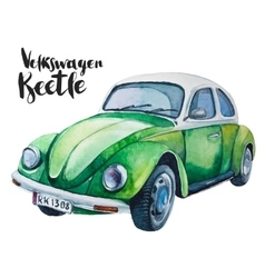 watercolor of retro green car vector image