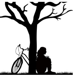 Woman and bicycle leaned against a tree vector