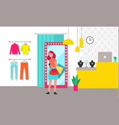 Woman shopping clothing store vector