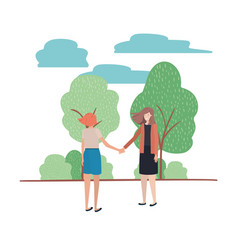 Women with holding hands and landscape vector