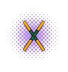 Wooden sword bokken icon comics style vector
