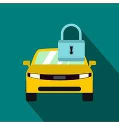 Yellow car with padlock icon flat style vector