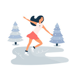 Young girl skating on ice rink winter scene vector