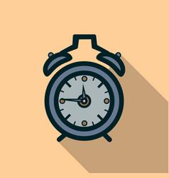 Alarm clock icon with long shadow vector