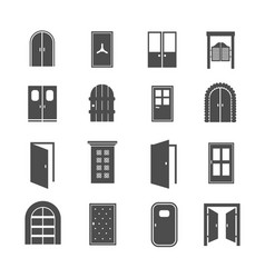 black door icons open and close house and vector image