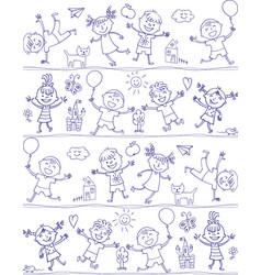 happy kid cartoon doodle drawing like children vector image