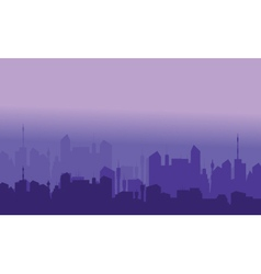 Silhouette of city with purple color vector image vector image