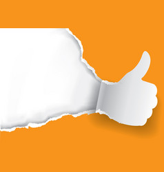 thumbs up ripped orange paper background vector image vector image