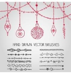 Christmas garland brushesballs vector image vector image