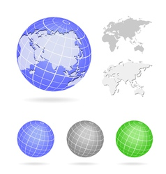 Globe Europe and Asia map blue icon vector image vector image