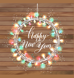 happy new year design on wooden texture vector image vector image