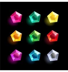 Set of cartoon pentagon different color crystal vector image