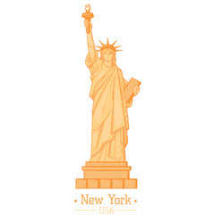 statue of liberty cartoon with torch flat design vector image vector image