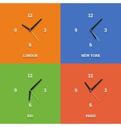World time clocks in flat style on color squares vector image vector image