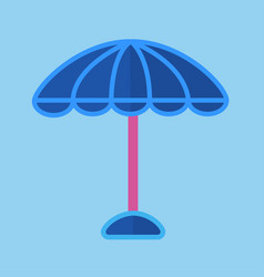 Blue sun umbrella with pink stick isolated vector