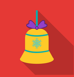 christmas bell with snowflake icon in flat style vector image vector image