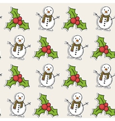 Christmas pattern with snowman vector image