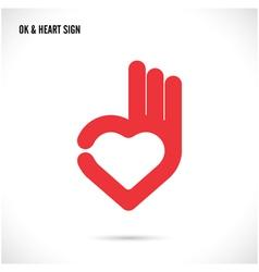 Creative hand and heart shape abstract logo design vector