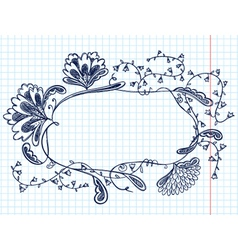 cute doodle floral abstract frame vector image vector image