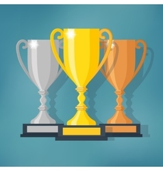 Gold Silver and Bronze Trophy Cup vector image vector image