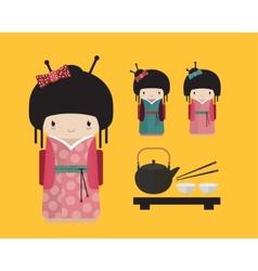 Kokeshi doll in kimono with traditional japanese vector image