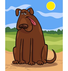 brown big dog cartoon vector image vector image
