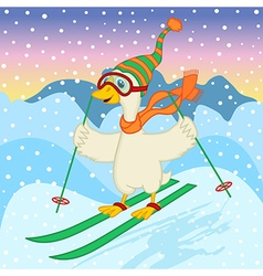 goose ski jumping vector image vector image