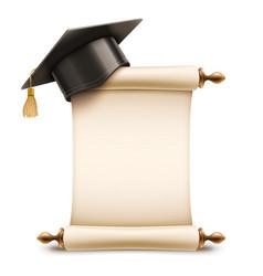graduation cap on diploma scroll vector image vector image