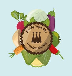 healthy vegetables fresh harvest label vector image vector image