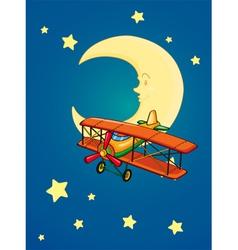 moon and aeroplane vector image vector image