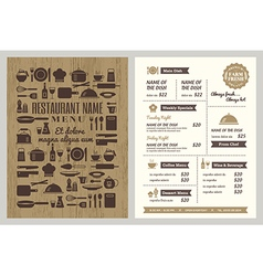 Restaurant menu with silhouette kitchen utensils vector image vector image