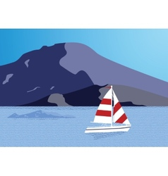 Sea background with yacht vector image