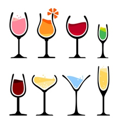 set of wine glass vector image vector image