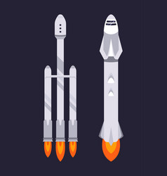 spaceship and rocket on dark background vector image