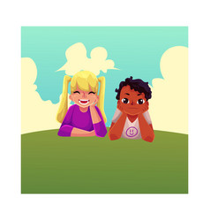 two kids black african boy caucasian girl lying vector image