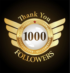 10000 followers with thank you with golden vector image