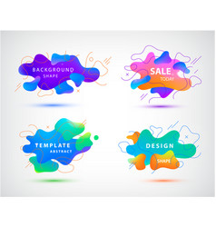 3d gradient spots bubbles set with line vector