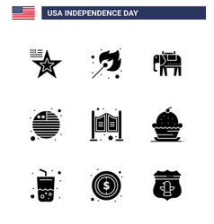 9 usa solid glyph signs independence day vector